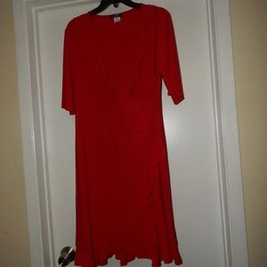 MSK Size 12 Red Knit Ruffle Front Dress Pre-owned